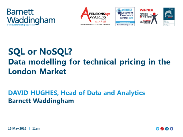 SQL or noSQL: data modelling for technical pricing in the London Market