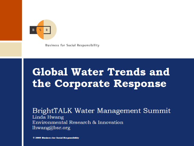 Global Water Trends and the Corporate Response