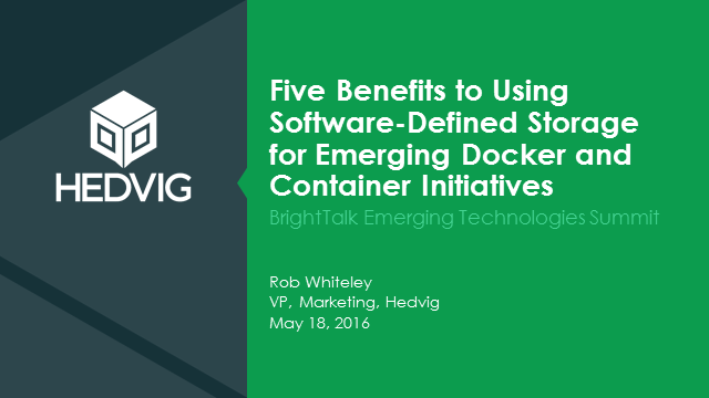 Five Benefits to Using SDS for Emerging Docker and Container Initiatives
