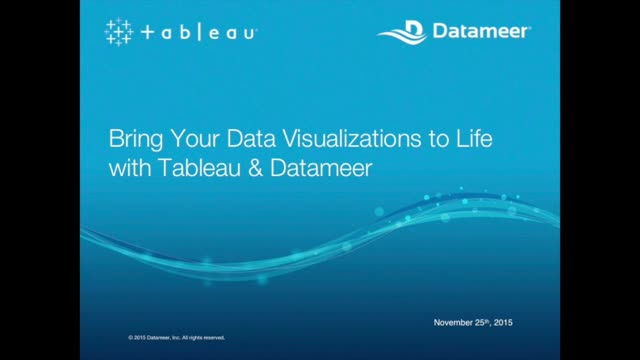 Webinar: (EMEA) Tableau Datameer Bring Your Data Visualizations to Life