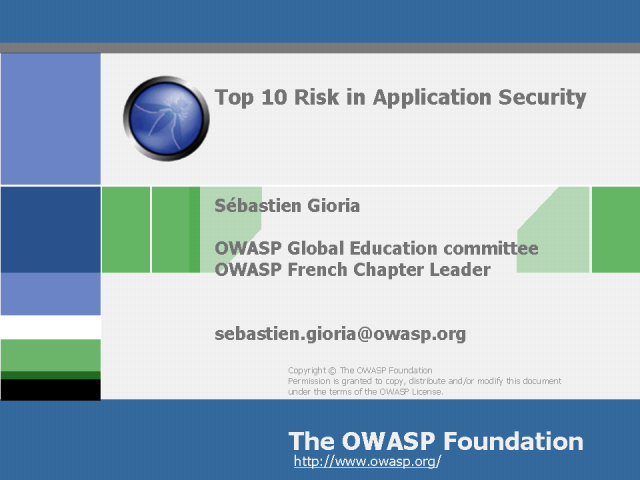Top 10 Risks in Application Security