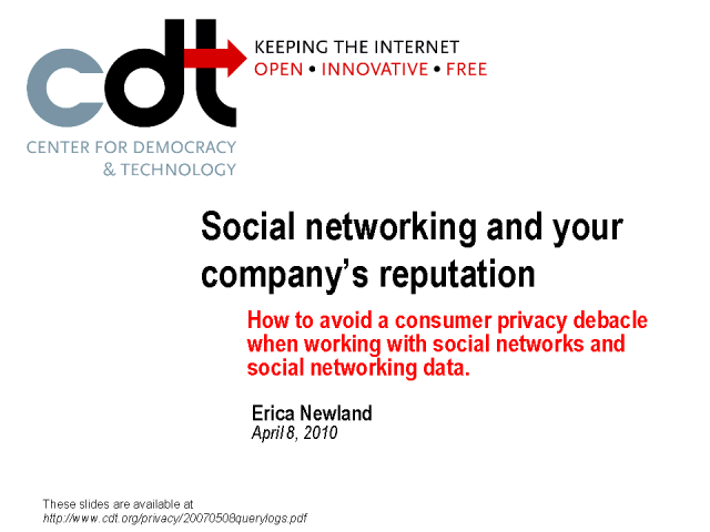 Avoiding Consumer Privacy Debacles When Working with Social Media