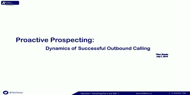 Proactive Prospecting: Dynamics of Successful Outbound Calling