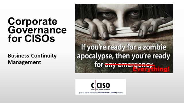 Corporate Governance for CISOs: Business Continuity Management