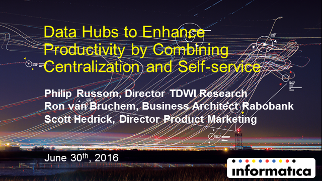 Data Hubs to Enhance Productivity by Combining Centralization and Self-service