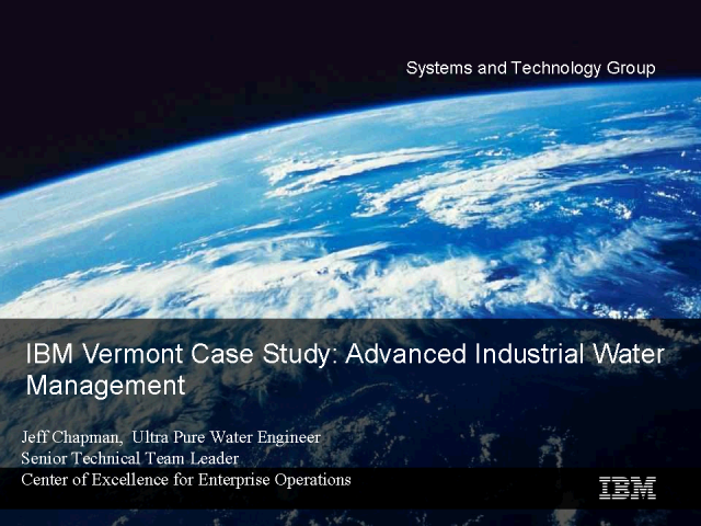 IBM Vermont Case Study: Data Driven Water Management