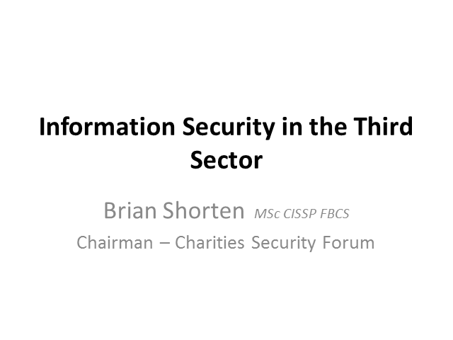 Information Security in the Third Sector