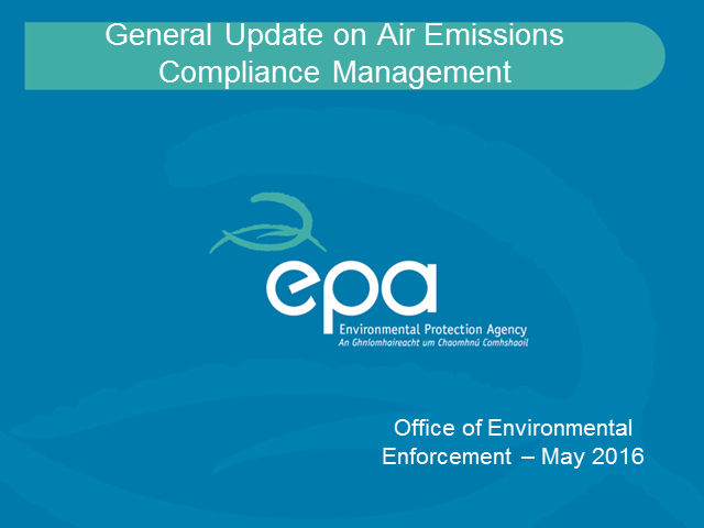 Update on Air Emissions Compliance Management