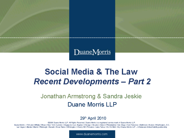 Social Media & The Law - Part 2