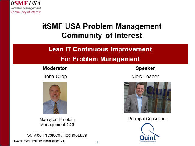 Problem Management CoI - LeanIT Continuous Improvement for Problem Management