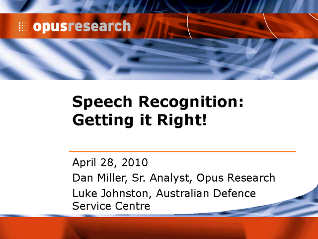 Speech Recognition: Getting It Right
