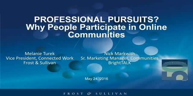 Professional Pursuits: Why People Participate in Online Communities