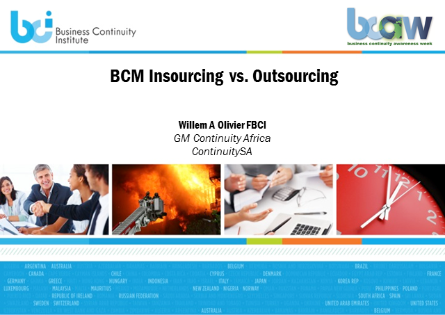 Business Continuity Management - insourcing versus outsourcing