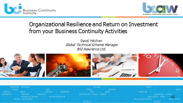 Organizational resilience and ROI from your business continuity activities