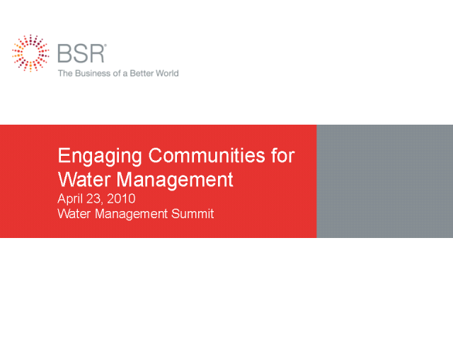 Engaging Communities for Water Management