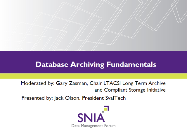 Database Archiving Fundamentals