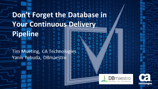 Don't Forget the Database in Your Continuous Delivery Pipeline