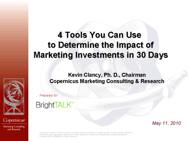 Determine the Impact of Marketing Investments in 30 Days