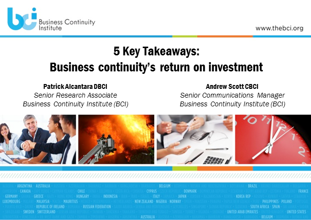 What is the return on investment of business continuity?