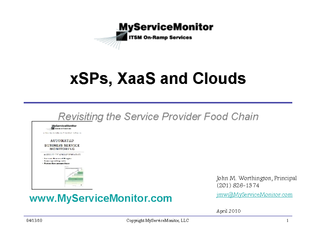 xSPs, XaaS and Clouds: Revisiting the Services Food Chain