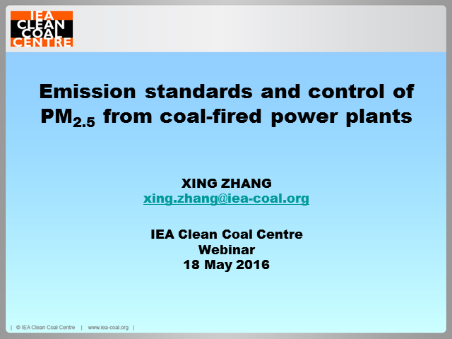 Emission standards and control of PM2.5 from coal-fired power plant