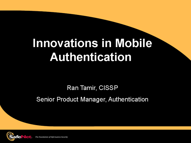 Innovations in Mobile Authentication