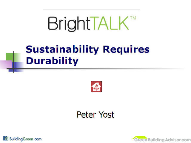Sustainability Requires Durability