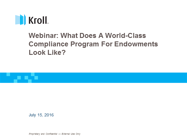 What Does a World-Class Compliance Program for Endowments Look Like?