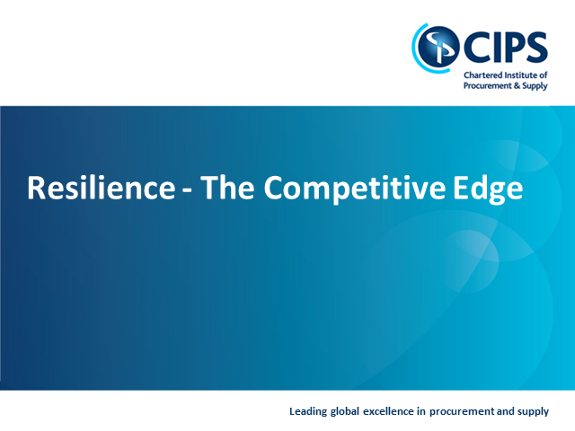 Supply Chain Resilience - The case for understanding the ROI in resilience