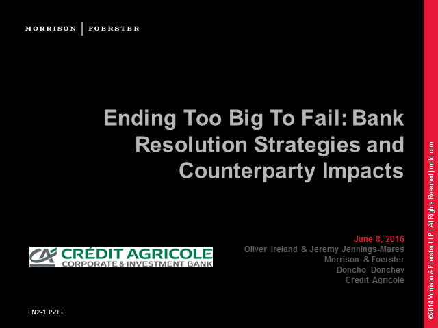 Ending too big to fail: bank resolution strategies and counterparty impacts