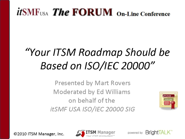 Your ITSM Roadmap Should be Based on ISO/IEC 20000
