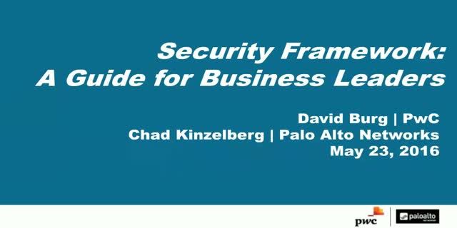 PWC and Palo Alto Networks Discuss Security Framework