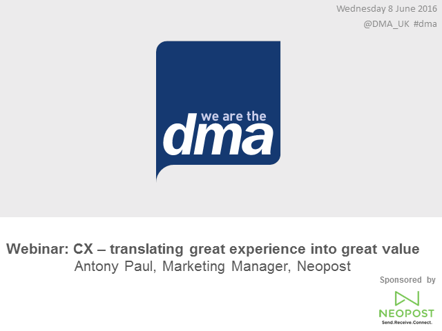 Webinar: CX – translating great experience into great value