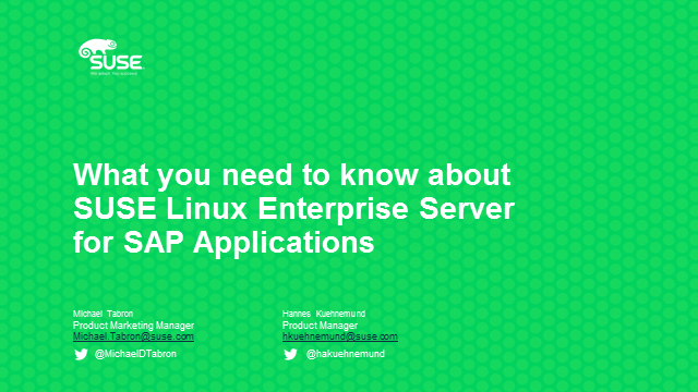 What you need to know about SUSE Linux Enterprise Server for SAP Applications
