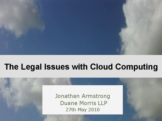 The Legal Issues with Cloud Computing