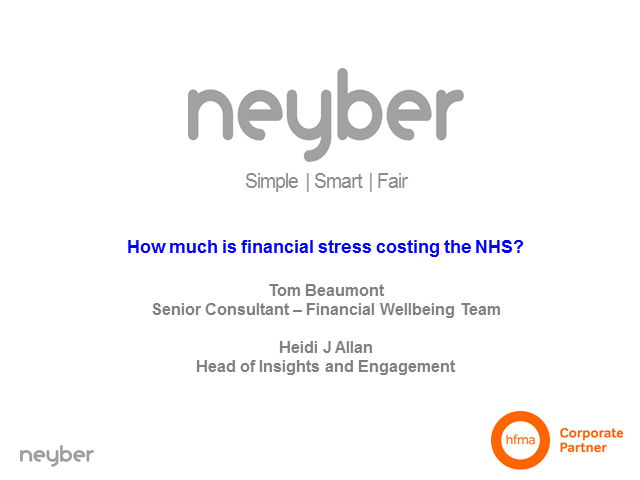 How much is financial stress costing the NHS? Online workshop