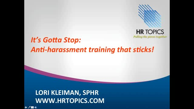 It's Gotta Stop - Anti-harassment Training