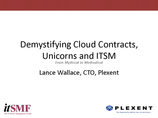 Demystifying Cloud Contracts, Unicorns and ITSM