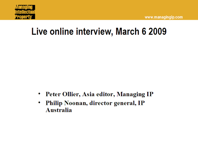 Live interview with IP Australia director general Philip Noonan