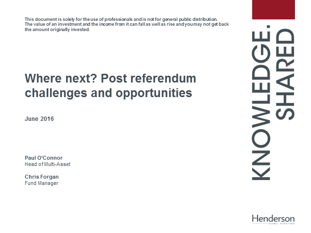 Where next? Post referendum challenges and opportunities