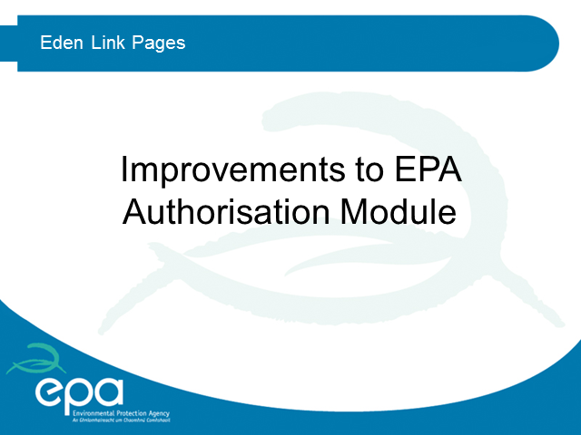 Improvements to EPA Authorisation Module