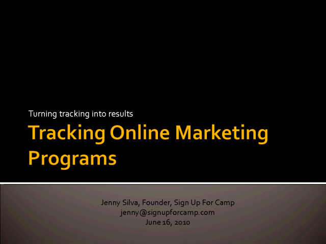 Tracking Online Marketing Programs