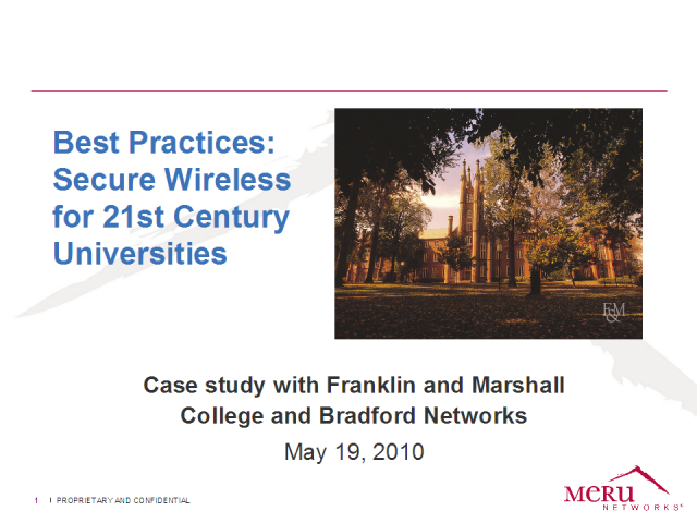 Best Practices: Secure Wireless for 21st Century Universities