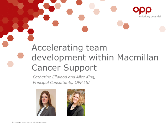 Accelerating team development within Macmillan Cancer Support
