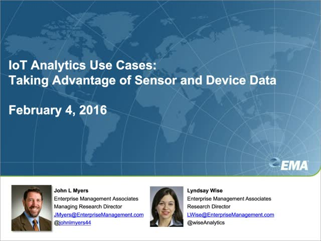 Use Cases for IoT Analytics IM: Taking Advantage of Sensor and Device Data
