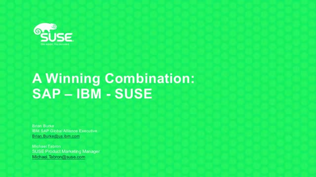 SUSE Linux Enterprise and IBM Power Systems for SAP HANA
