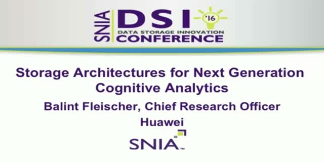 Storage Architectures for Next Generation Cognitive Analytics