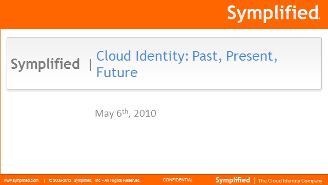 Cloud Identity: Past, Present, Future