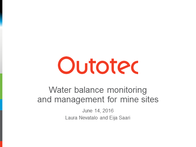 Water balance monitoring and management for mine sites