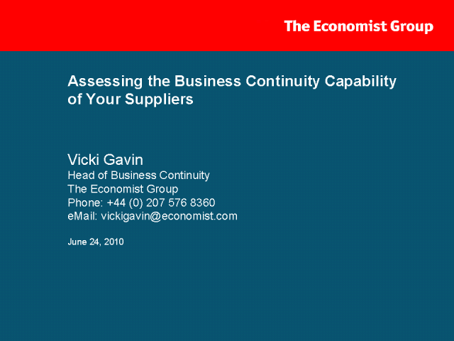 Measuring Supply Chain Business Continuity Capability